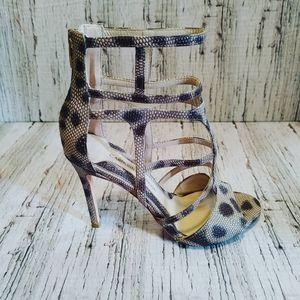 CAROLINNA ESPINOSA | Snake Print Strappy Heels 7M